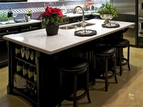 kitchen island counter luxury black kitchen cabinets with pure white countertops