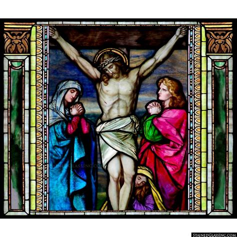 Forever Rose In Glass by Pictorial Stained Glass Windows The Death And Burial Of