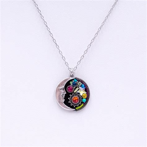 Multi Color Pendant Necklace multi color midnight moon pendant necklace firefly jewelry