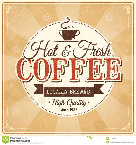 Vintage Coffee Poster With Grunge Effects Royalty Free Stock Photos   Image: 32259648