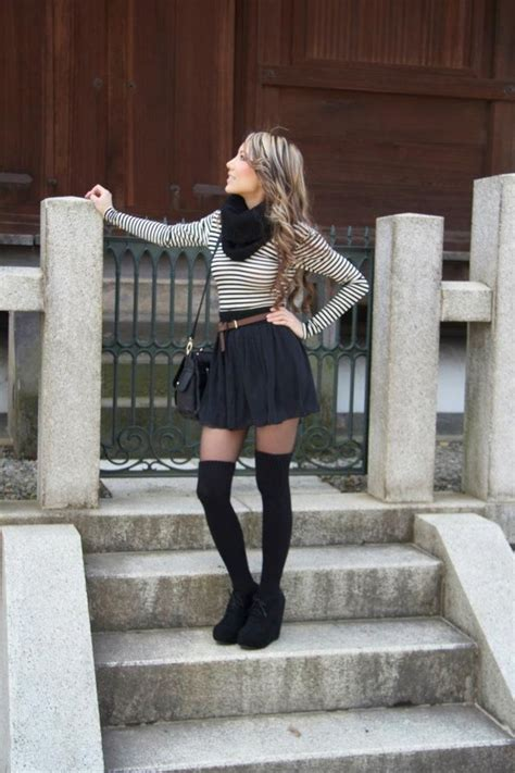 american apparel bodysuit chiffon skirt and thigh high