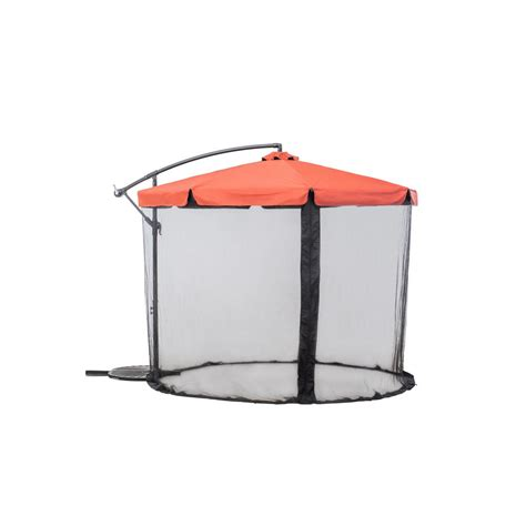 Offset Patio Umbrella Sunjoy Offset Netted 9 8 Ft Steel Cantilever Patio Umbrella In Rust 110211001 R The Home Depot