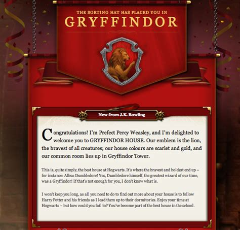 pottermore gryffindor welcome letter harry potter