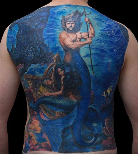 mermaid tattoos for men back underwater mermaid for