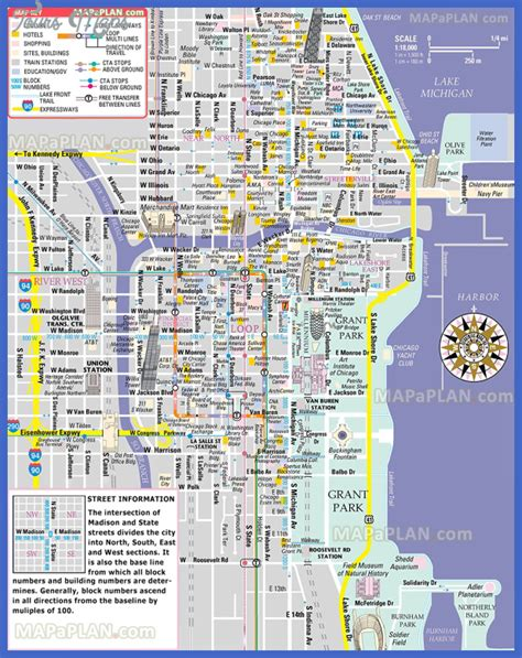 chicago map for tourists chicago map tourist attractions toursmaps