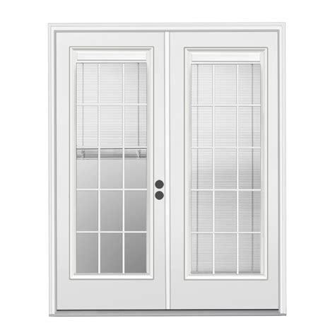 Patio Doors With Blinds Inside Glass Shop Reliabilt 71 5 In X 79 5 In Blinds Between The Glass Left Inswing White Steel