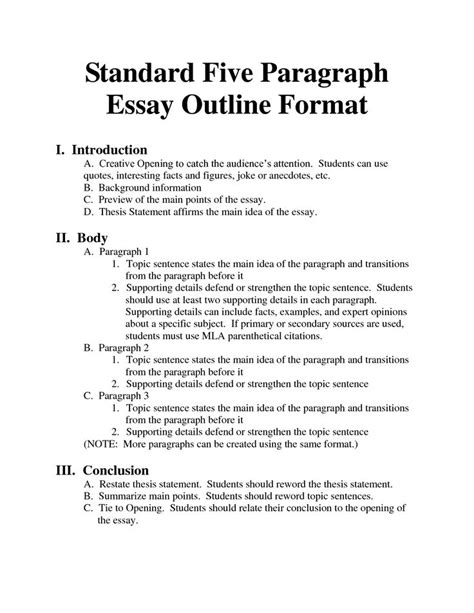 standard 5 paragraph essay outline format language arts