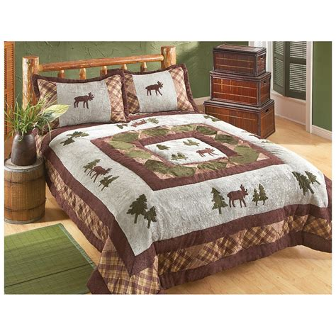 Castlecreek Moose Applique Chenille Comforter Set Moose Bedding Set