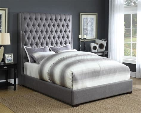 grey upholstered bed camille 300621 upholstered bed in grey fabric by coaster