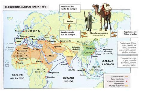 Mapa Del Comercio Mundial Hasta 1450 Historia