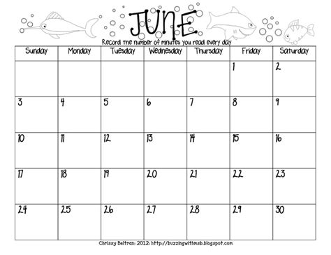 Elementary Reading Log Calendar March - summer reading log freebie calendar style june july