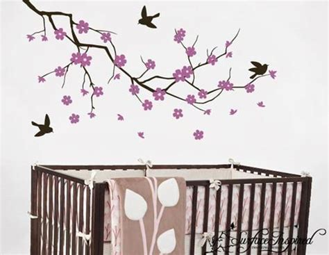 Nursery Wall Decals Purple Cherry Blossom Branch Vinyl Purple Wall Decals For Nursery