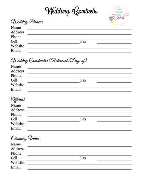 wedding vendor list template wedding planner with free printables the refurbished