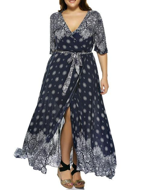 Bohemian Dress 1x plus size plunge print wrap maxi bohemian dress in