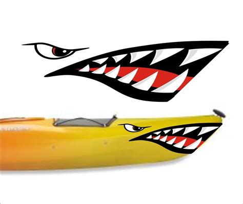 boat cover decals shark teeth mouth decal stickers kayak canoe jet ski hobie