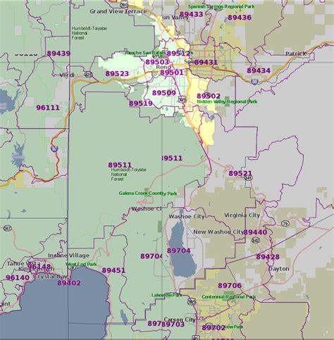 Zip Code Map Reno | northern nevada zip code identifier montreux and south