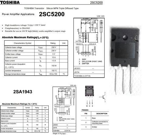 2sa1943 pnp and 2sc5200 npn transitor electronic circuit