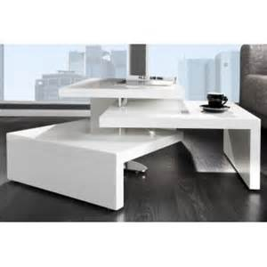 table basse design 3 plateaux pivotants blanc laque shark