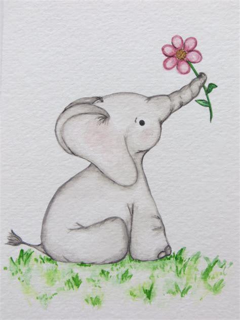 watercolor painting nursery original painting elephant painting childrens wall