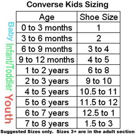 converse shoes size chart converse shoe size chart for the children