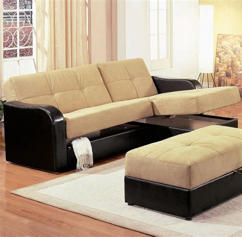 Sectional Sofas Sleepers Mid Century Best Modern Sectional Sleeper Sofa With Storage And Light Brown Fabric Top Cover