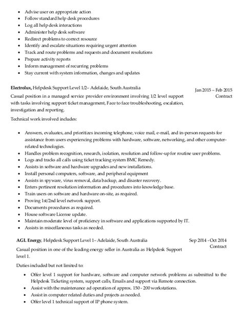 Help Desk Technician Description Resume cover letter it help desk resume sles free resume