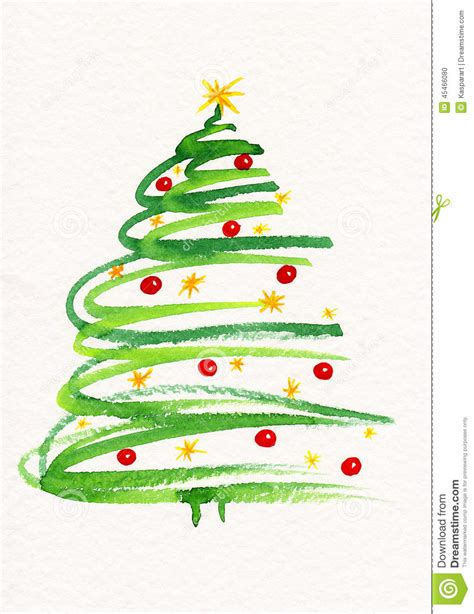 painted hand christmas trees decorated tree painting stock illustration image 45466080