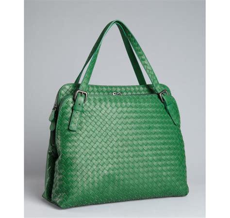 Bottega Venetta Green bottega veneta green intrecciato leather compartment bag in green lyst