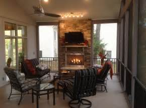Porch Fireplace by This Screened Porch With Outdoor Fireplace Is Designed For