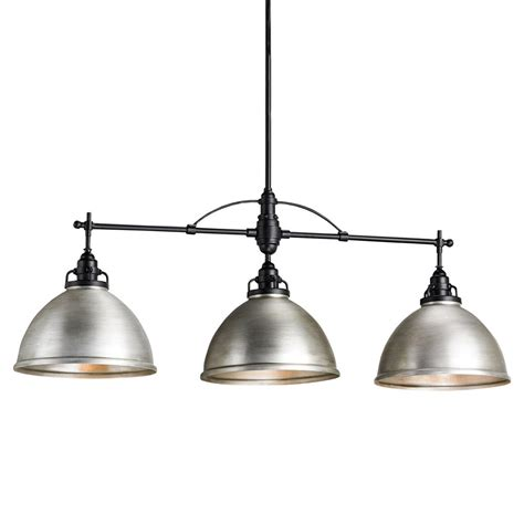 Industrial Island Lighting Cala Industrial Loft Dome Brushed Nickel Pendant Kathy Kuo Home