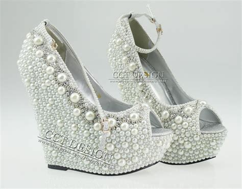 White Wedge Bridal Shoes by 2014 New Fashion Wedding Wedges Formal Wedding Shoes White
