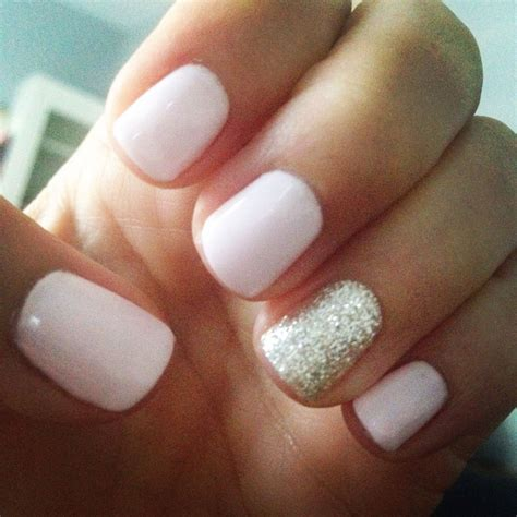 Light pink and gold glitter gel mani   Nailed It!   Bride