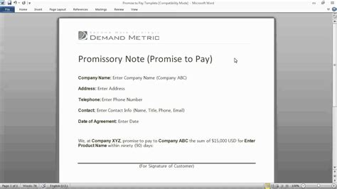 Promise To Pay Form Youtube Promise To Pay Note Template