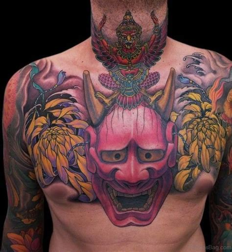 oni mask tattoo 63 classic mask tattoos on chest