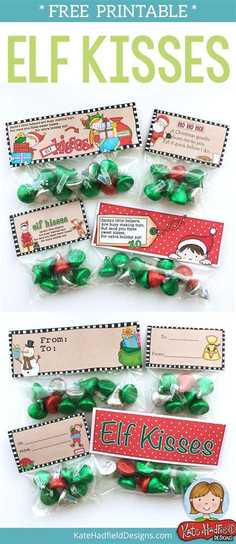 printable elf kisses bag toppers free elf kisses bag toppers easy christmas treats bag