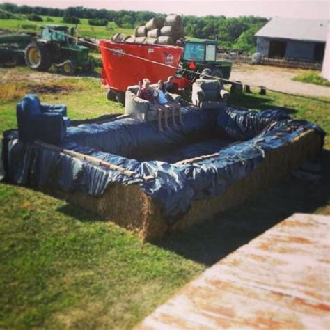how to build a hay bale swimming pool diy pool bale bales hay summer lounge outdoors