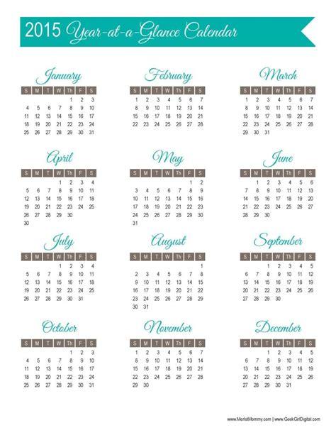 printable year at a glance calendar 2015 30 days of free printables 2015 year at a glance calendar