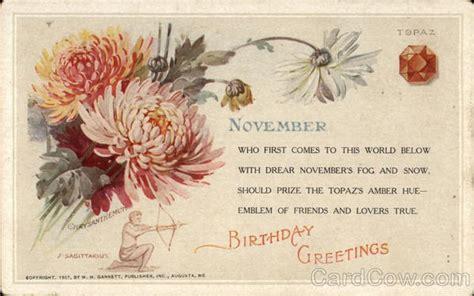 November Birthday Cards November Birthday Topaz And Chrysanthemum