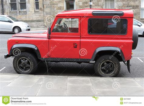 red land rover defender red land rover defender 110 editorial photo image 58476881