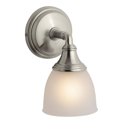 Kohler Bathroom Lighting Brushed Nickel Kohler Devonshire 1 Light Brushed Nickel Wall Sconce K 10570 Bn The Home Depot