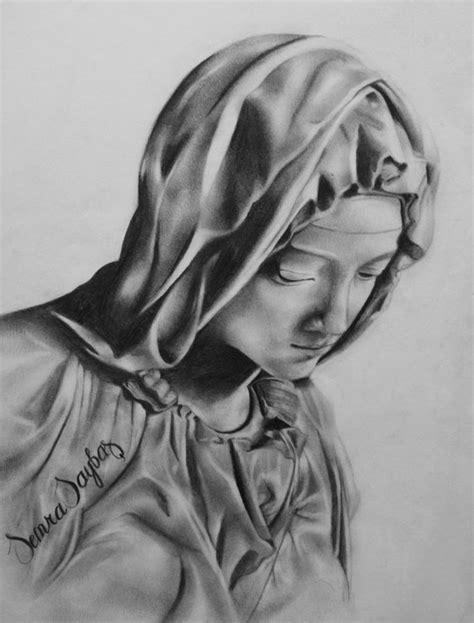 Down Duvet Cover Saint Mary Drawing By Semra Saybas