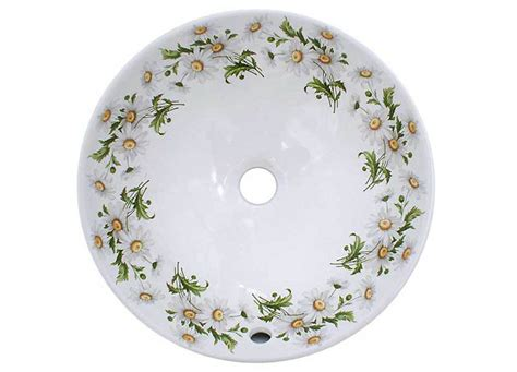 floral bathroom sinks daisy white and yellow flowers bathroom basin jpg