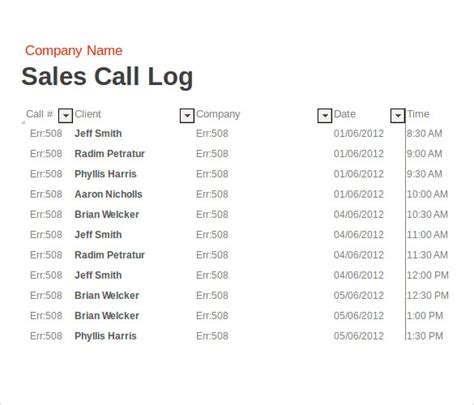 call report template excel 14 sales call report sles sle templates