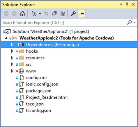 tutorial ionic cordova getting started with ionic 2 apps in visual studio 2017