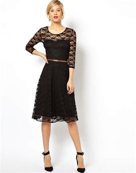 asos asos midi skater dress in lace with 3 4 sleeves and