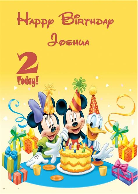 Birthday Card Template Duck by Personalised Mickey Mouse Minnie Mouse Donald Duck