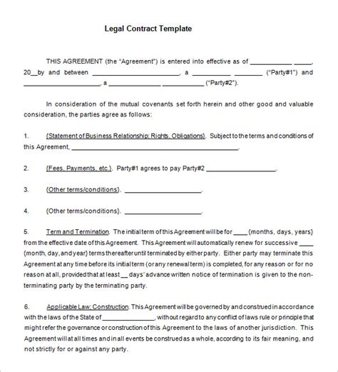 11  Legal Contract Templates ? Free Word, PDF Documents
