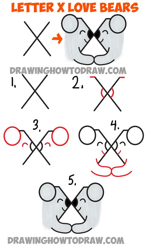 learn how to make doodle how to draw two bears in from the letter x simple