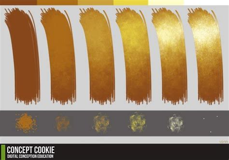 gold tutorial reference brushes and gold color palette resources