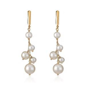 14k yellow gold dangle pearl chain earrings golden jewelry store